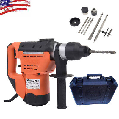 New 1-12 110v Sds Plus Steel Rotary Hammer Drill Case Electric Tool Orange