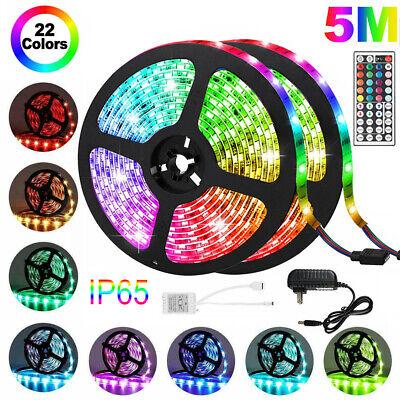 Waterproof 5M 16.4ft 300 LED RGB 3528 SMD Strip Light Flexible 12V+Remote+Power