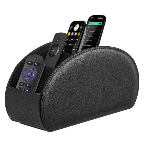 [5 Compartments] Black Remote Control Holder TV Remote Caddy Desktop Organizer