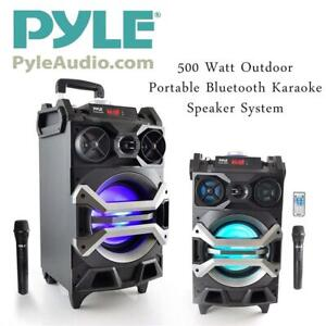 NEW Pyle 500 Watt Outdoor Portable Bluetooth Karaoke Speaker System - PA Stereo with 8 Subwoofer, DJ Lights Recharge...