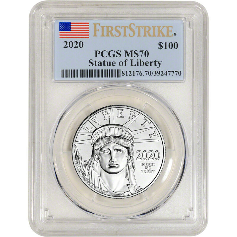 2020 American Platinum Eagle 1 oz $100 - PCGS MS70 First Strike Flag Label