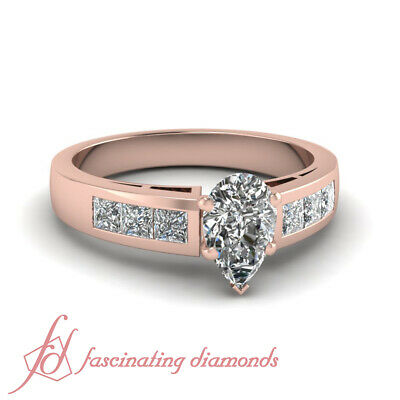 GIA Certified Pear Shape Diamond Rose Gold Engagement Ring Channel Set For Women