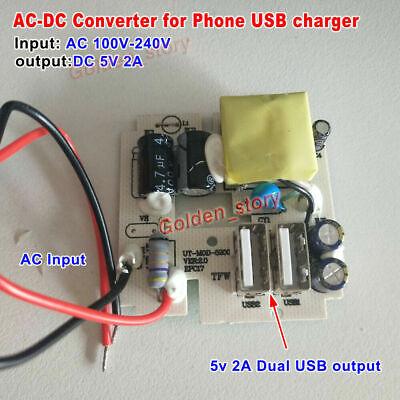Mini AC-DC Converter AC 110V 120V 220V 230V to 5V 2A Dual USB DIY Phone Charger
