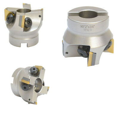 2 x 3/4 Inch Indexable Face Mill With Carbide Shims Use TPG32 Insert 90 Degree