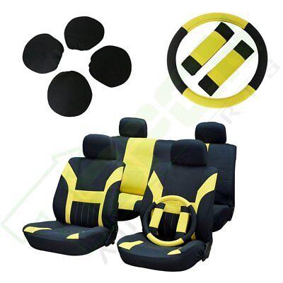 Yellow/Black Car Seat Cover w/Headrest/Steering Wheel/Belt Pads For Mercury