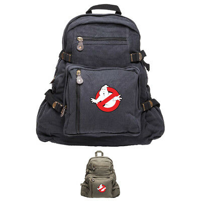Ghostbusters Logo Army Sport Heavyweight Canvas Backpack Bag - Ghost Busters Backpack