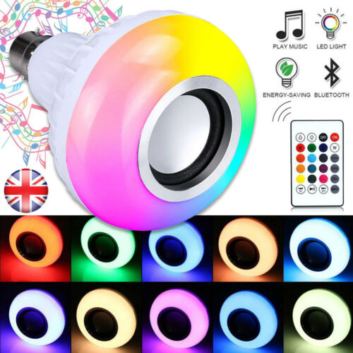 E27 Lamp Smart LED Light Bulb Bluetooth RGB Colour Music Speaker With Remote