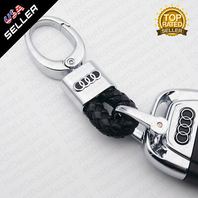 Black Calf Leather Alloy For Audi Emblem Keychain Decoration Gift Accessories