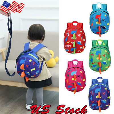 US Toddler Backpack Anti-lost Band Kids Children Bag Dinosaur Cartoon School Bag