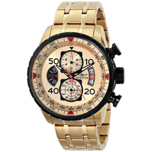 Invicta Mens Watch Aviator Chrono Gold Tone and Black Dial Steel Bracelet 17205