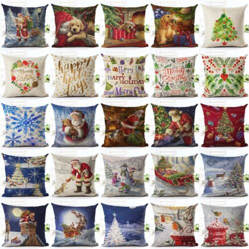 Christmas Home Decor Cotton Linen Throw Pillow Case Sofa Wai