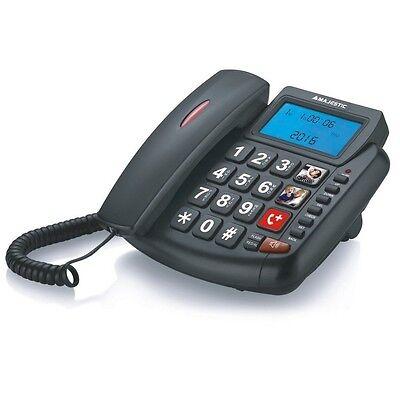 MAJESTIC BILLY 200 NERO TELEFONO FISSO SENIOR A FILO CON GRANDE DISPLAY