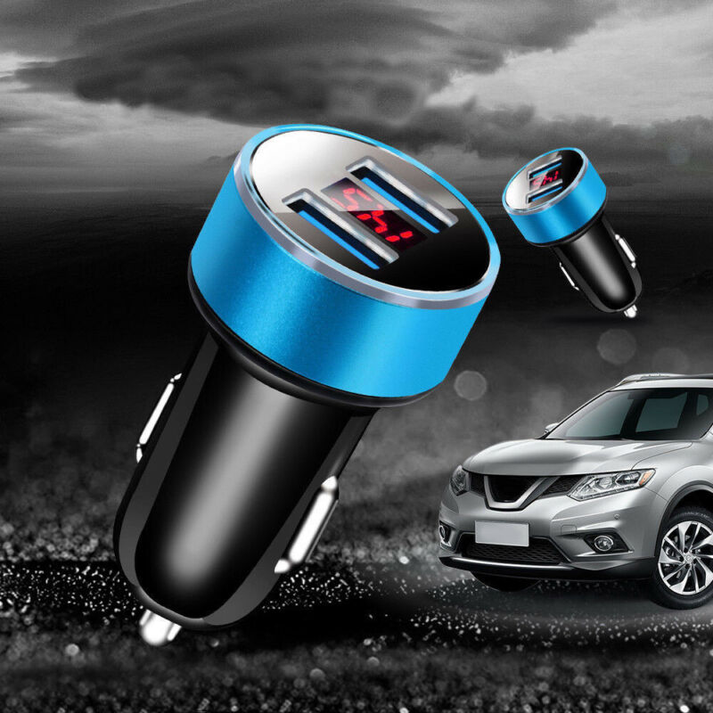 как выглядит Dual Ports 3.1A USB Car Lighter Digital LED Charger Voltmeter 12V/24V Accessory фото