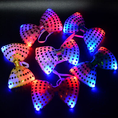 12 PACK Light Up Bow Ties LED Flashing Blinking Sequin Hair Bows Wedding - Light Up Bow Ties