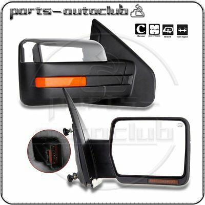 Chrome 2004-14 Ford F-150 Power Heated LED Puddle Signals Side Mirrors Pair Set