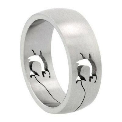 8mm Stainless Steel Cut-out Dolphins Design Domed Wedding Band Ring