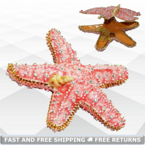 Starfish Miniature Jewelry Trinket Box With Hinged Lid Enamel Bejeweled Crystals