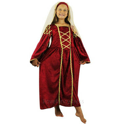 CHILDS RED TUDOR PRINCESS FANCY DRESS COSTUME MEDIEVAL QUEEN DRESS & HEADPIECE