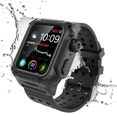 Life Waterproof Case+Band Strap For Apple Watch Series 4 44mm iWatch Shockproof