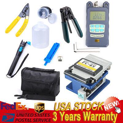 10-in-1 Fiber Optic FTTH Tool Kit FC-6S Cutter Fiber Cleaver Optical Power Meter