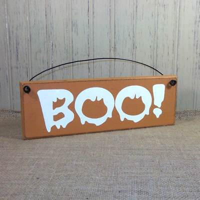 Boo Sign Halloween Decorations Primitive Rustic Wood Farmhouse Style plaques - Rustic Halloween Decorations
