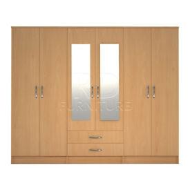 classy wardrobe 4 you, 2,28m wide 6 door beech wardrobe