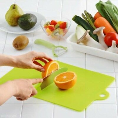 Set of 3 Flexible Cutting Board Mats Wit Label Food Icons Thick 2mm Plastic Green Plastic Cutting Board