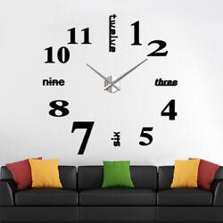 Modern Large Wall Clock 3D Mirror Surface Sticker Arabic Number Watch DIY Decor