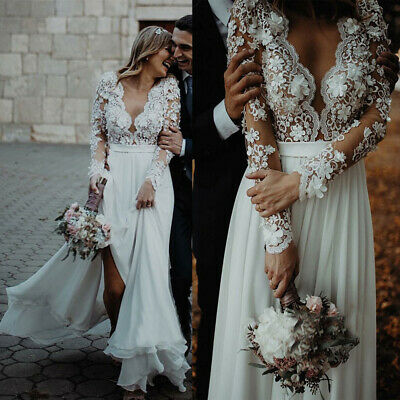 3D Flowers Wedding Dresses Beach Split Bridal Gown Deep V-neck Long Sleeve Plus