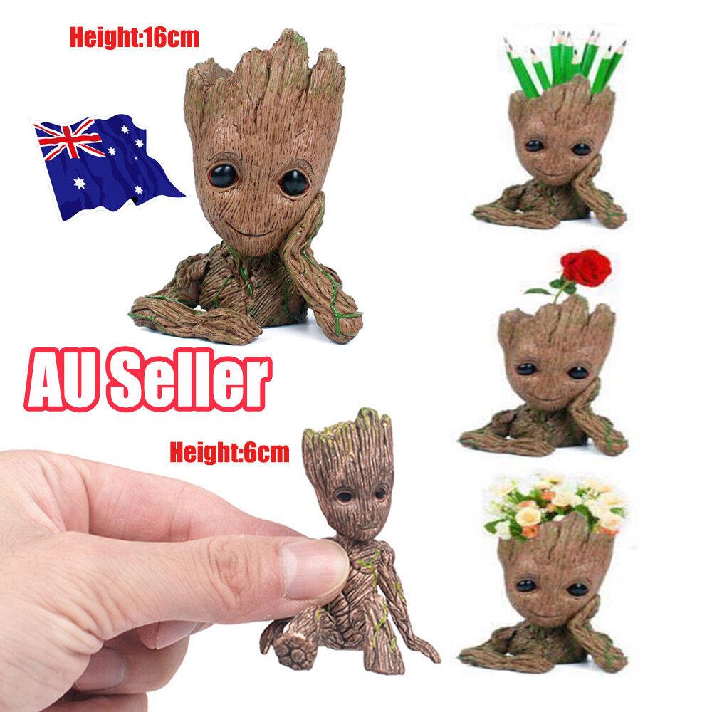 2 Baby Groot Flowerpot Pen Pot Figure Gift Toy US Guardians Of The Galaxy Vol