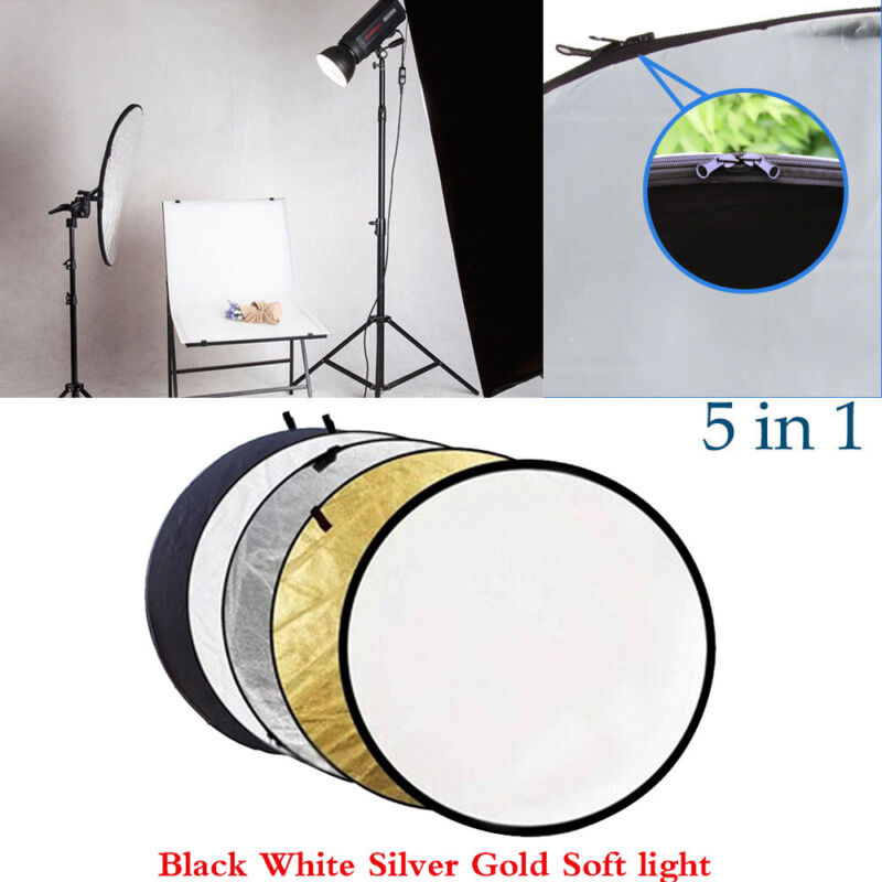 """60CM 5-in-1 Photograph Disc Collapsible Light Reflector Studio Multi Photo 24"""""""