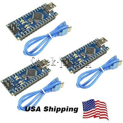 3PCS MINI USB Nano V3.0 ATmega328P CH340G 5V 16M Micro-controller board Arduino