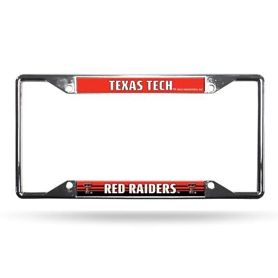 Texas Tech Red Raiders NCAA Chrome EZ View 4 corner License Plate Frame ()