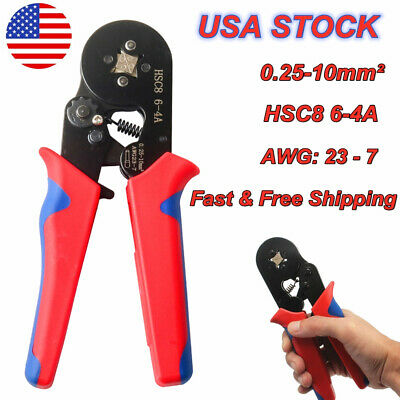 Self Adjusting Ratcheting Ferrule Crimper Plier Hsc8 6-4a 0.25-10mm2 Awg23-7 Us