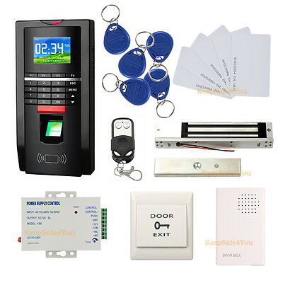 Color Fingerprint Access Control kit +Power Supply+ exit button+600LBS EM Lock