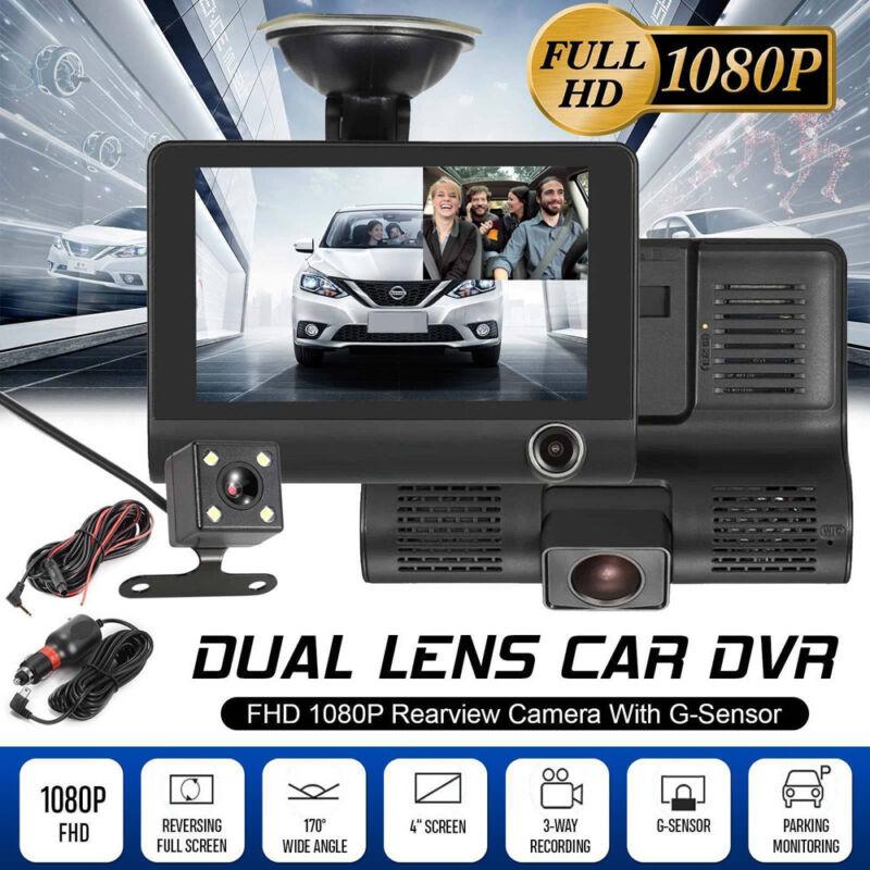 4'' HD 1080P 3 Lens Car DVR Dash Cam Vehicle Video Recorder