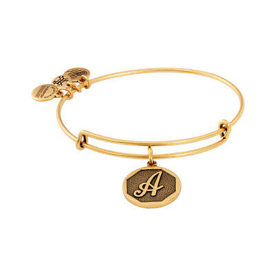 Alex And Ani Initial A Charm Rafaelian Gold Finish Bangle Bracelet A13eb14ag