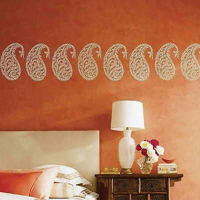 - Jaipur Paisley Wall Art Stencil - SMALL - Reusable Ethnic Stencil Designs