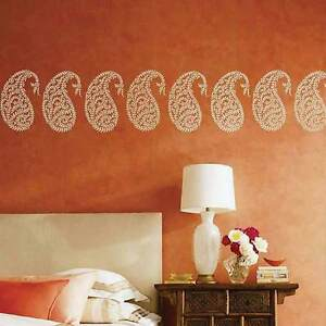 Comindian Wall Hanging Designs : Jaipur-Paisley-Wall-Art-Stencil-SMALL-Reusable-Ethnic-Stencil-Designs