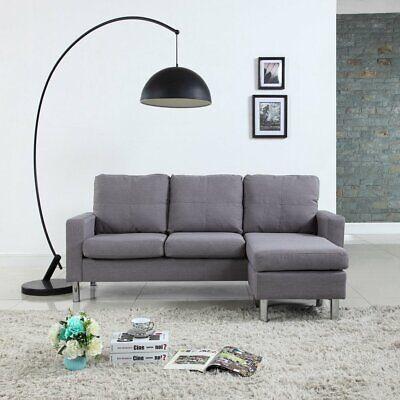 Modern Living Reversible Linen Fabric Sectional Sofa, Light