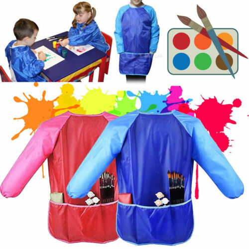 Long Sleeve Apron DIY Drawing Painting Waterproof Smock Kids Children Craft Art