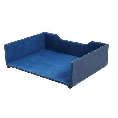 Staples Stackable Letter Tray Faux Leather Blue 2741267