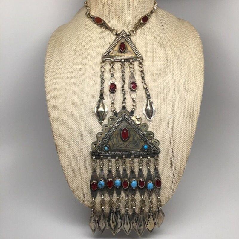 Old Vintage Afghan Turkmen Tribal 2 Triangle Gold-Gilded Pendant Necklace, TN43