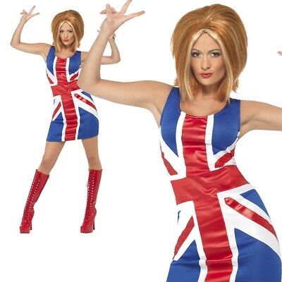 Ginger Spice Girls 90s Union Jack Dress Ladies Womens Fancy Dress Costume