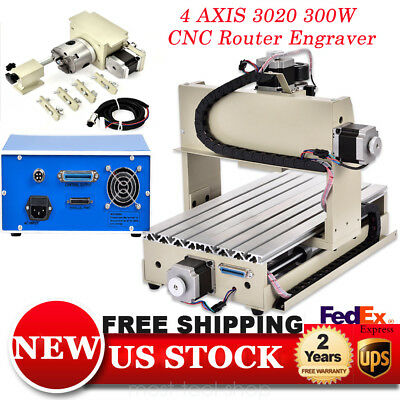 4axis 3020 Cnc Router Metalmetalworking Engraver Machine 3d Cutter Carving 300w