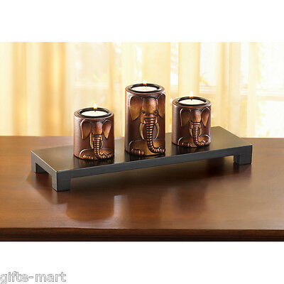 Carved wood ELEPHANT tea-light Candle holder statue long table centerpiece - Elephant Candles