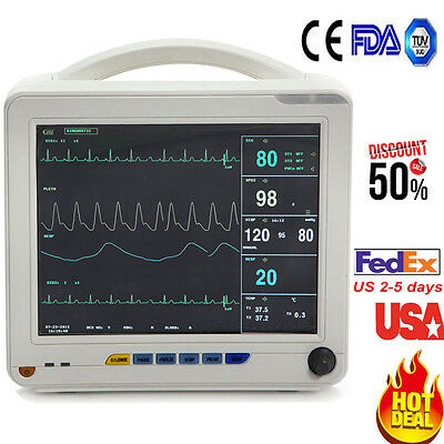 Medical Portable Icu Ccu 6-parameter Patient Monitor Nibp Spo2 Ecg Temp Resp Pr