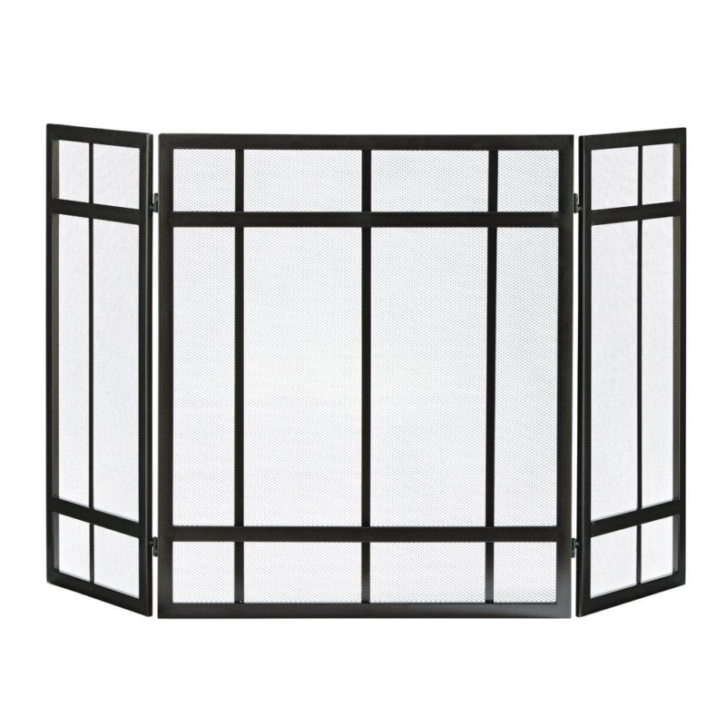 3-Panel Fireplace Screen Black Mission Style Hearth Cover Me