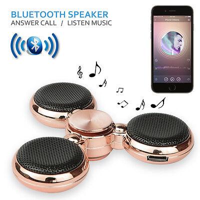 LED Bluetooth Tri Fidget Hand Spinner Music Speaker Toy EDC-Gilded Rose Gold