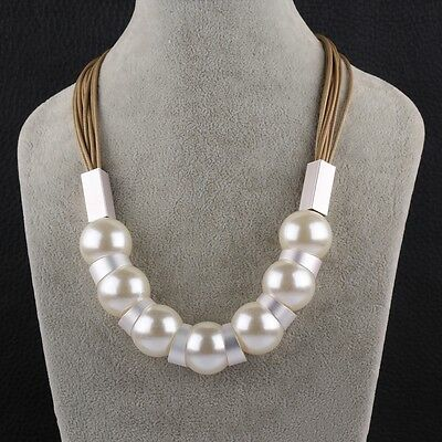 (Pearl Imitation Silver Metal Brown Cord Adjustable Size L88)